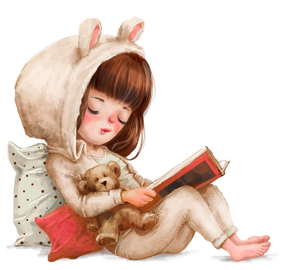 дівчинка з книгою і плюшевим ведмедиком