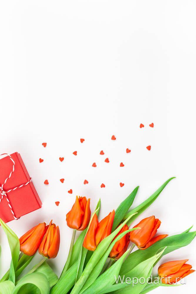 подарунок і червоні тюльпани