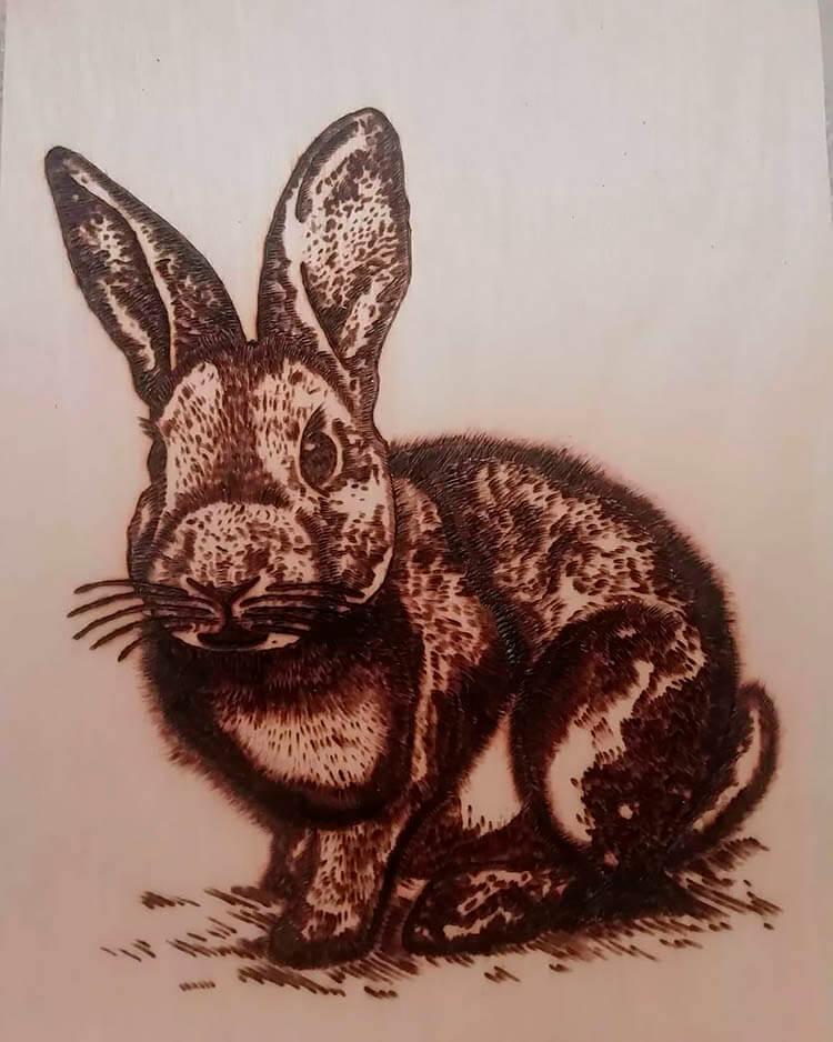 випалювання по дереву кролик